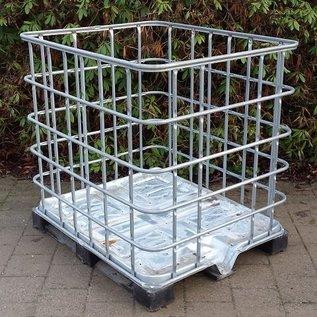 IBC Brennholz Lagerbox weitmaschig auf PE-Palette mit Metallboden #1MVP-REGEN-USER