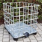 IBC Gitterbox weitmaschig für Brennholzlagerung auf Metall- / PE- Palette #1MPE-REGEN-USER