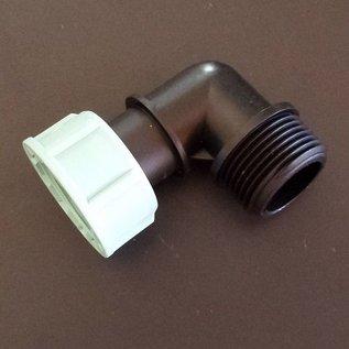 Winkel mit 1 x Überwurfmutter 1-Zoll Innengewinde mit Dichtung und 1 x 1-Zoll Aussengewinde IBC #103-1AG-B1IG-REGEN-USER