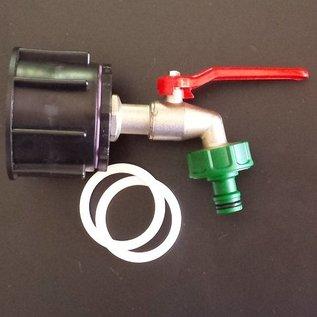 IBC Wassertank 2'' S60X6 PROFI Anschluss mit Auslaufhahn / Kugelhahn GARDENA kompatibel #P15G-REGEN-USER
