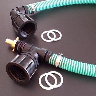 Verbindung 2 Regenwassertanks mit Profi S60X6 2-Zoll-Auslauf nebeneinander mit Schlauch #P50TVS