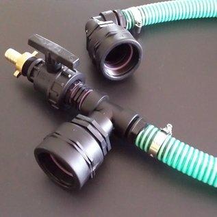 Wassertank Verbindung mit Schlauch für 2 Ausläufe IBC Feingewinde 2-Zoll 58mm horizontal & Zusatzhahn #F51TVSMA-REGEN-USER