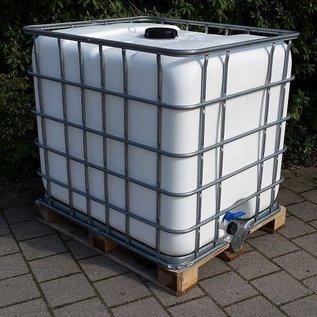Regenwassertank 1000 Liter WEISS auf Holzpalette mit Metallboden Algenschutz #5MH-sauber-REGEN-USER