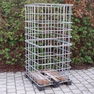IBC Gitterbox 2 Kubik weitmaschig für Brennholzlagerung auf Holzpalette mit Kunststoffkufen #1HVP-XXL-REGEN-USER