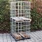 2m3 IBC Gitterbox Basis weitmaschig für Brennholzlagerung auf Holz-Kunststoffpalette und Holzpalette #1HVP&1H-REGEN-USER
