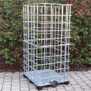 IBC Gitterbox 2m3 / 2 Kubik weitmaschig für Brennholzlagerung auf Metall-Kunststoffpalette #1MPE-XXL-REGEN-USER