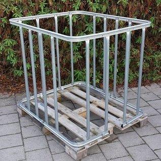 IBC Gitterbox mit senkrechten Stäben zur Lagerung von Stangen, Rohren, Streben, Stäben auf Holzpalette #1H-16W-REGEN-USER