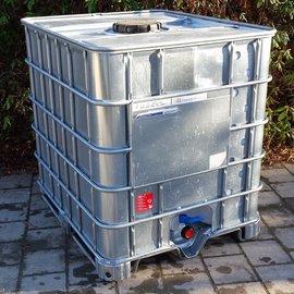 IBC Container Schütz RSX 1000l mit UN Laufzeit auf Metallpalette