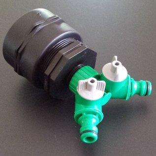 IBC 2-Wege-Ventil mit 2-Zoll FEINGEWINDE Auslauf Adapter GARDENA-kompatibel #F2008-REGEN-USER
