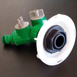 IBC 2-Wege-Ventil für kurzes CAMLOCK FEINGEWINDE SCHÜTZ 62mm GARDENA-kompatibel #FS2008-REGEN-USER