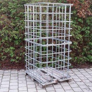 IBC Gitterbox 2m3 / 2 Kubik weitmaschig für Lagerung von Brennholz auf Holzpalette #1HA-XXL-REGEN-USER