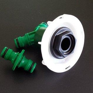 IBC Adapter mit kurzem CAMLOCK FEINGEWINDE SCHÜTZ 62mm mit Schnellkupplung 1- und 2- fach GARDENA-kompatibel #FS2009&2-REGEN-USER