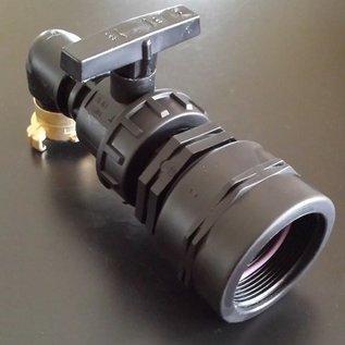 Adapter FEINGEWINDE 2-Zoll / 58mm Auslauf mit Ersatz-Kugelhahn GEKA kompatibel #FHB25GK-REGEN-USER