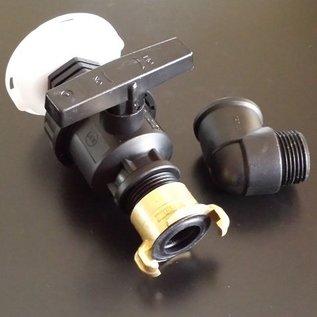 Auslauf mit Wasserhahn für IBC SCHÜTZ mit kurzem FEINGEWINDE 62mm GEKA kompatibel #FSHB25GK-REGEN-USER