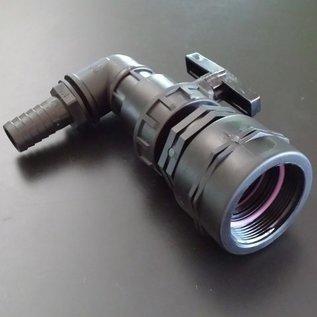 IBC Adapter FEINGEWINDE 2-Zoll / 58mm Auslauf mit Ersatz-Kugelhahn und Schlauchtülle 1-Zoll 25mm #FHB25S-REGEN-USER