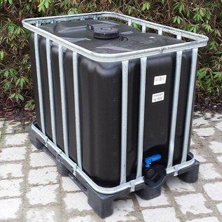 Werit IBC SCHWARZER Trinkwasser-Tank 600 Liter / 640 Liter NEU (neue Blase) OHNE ALGEN auf Kunststoff- Palette #94VP-W16