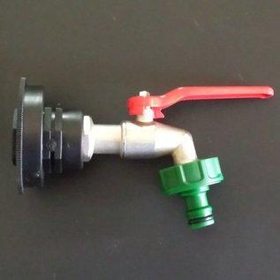IBC Auslaufhahn (Kugelhahn) mit Gardena Anschluss für IBC mit kurzem CAMLOCK FEINGEWINDE 60mm #FC15G-REGEN-USER