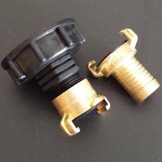 IBC 2'' Auslauf S60X6 mit GEKA Schnellkupplung mit 25mm / 1-Zoll Schlauchtülle #H25GK-REGEN-USER