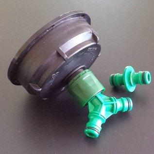 IBC Adapter 3-Zoll Grobgewinde ca. 10cm mit Schnellkupplung 1- und 2- fach GARDENA-kompatibel #Z2009&2-REGEN-USER