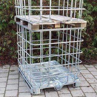 IBC Gitterbox 2m3 Basis weitmaschig für Brennholzlagerung auf Metallpalette und Holzpalette #1M&1H-REGEN-USER
