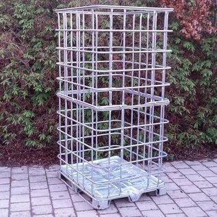 IBC Gitterbox 2m3 / 2 Kubik weitmaschig für Brennholzlagerung auf Metallpalette #1M-XXL-REGEN-USER
