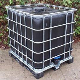 IBC 1000l BLACK 3'' auf Metall-Kunststoff