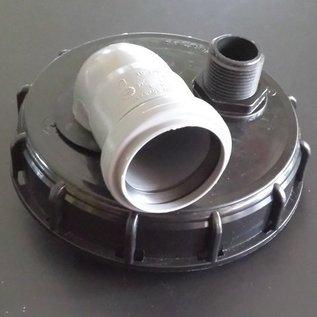 IBC Regenwassertank Deckel Anschluss mit HT-Bogen DN 50 mm und 2 x 1-Zoll Aussengewinde #73&01-REGEN-USER