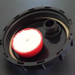 IBC Containerdeckel 150mm mit Be- / Ent- Lüftungsventil und 2 x 1-Zoll Aussengewinde für Regenwassertanks #70&01-REGEN-USER