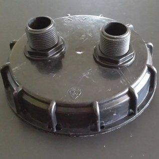 IBC Regenwassertank Deckel mit (2x) 2 Anschlüssen mit 1-Zoll Aussengewinde #D2D-1301-REGEN-USER