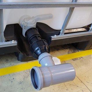 S60x6 IBC Adapter mit HT-Rohr 75 mm T-Stück #HP-HT1475-REGEN-USER