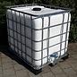 IBC Wassertank WEISS 1000 Liter für Trinkwasser und Lebensmittel auf Metall-Kunststoff-Palette #65MVP-REGEN-USER