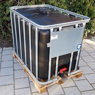 HESS DESIGN IBC Container für Futter 600 Liter / 640 Liter NEU SCHWARZ mit UV-SCHUTZ (lebensmittelecht) auf Holzpalette #94H-OD-W-NEU-REGEN-USER