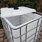 Schütz IBC Regenwassertonne 1000 Liter offen mit Deckel auf Metall-Palette #2ODM-sauber-REGEN-USER