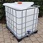 Schütz IBC Regenwassertonne 1000 Liter offen mit Deckel auf Metall-Kunststoff-Palette #2ODMVP-sauber-REGEN-USER