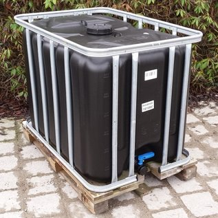 Werit IBC IBC Wassertank 600 Liter - 640 Liter Trinkwasser NEU (mit neuer Blase) SCHWARZ mit SCHUTZ GEGEN ALGEN auf Holzpalette #94H-W-REGEN-USER