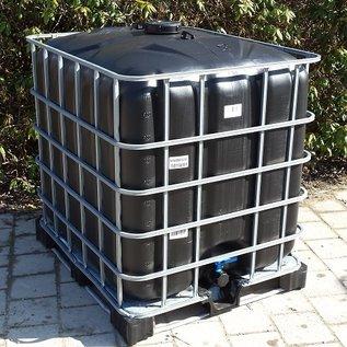 IBC Container 1000 Liter Trinkwasser SCHWARZ auf einer verzinkten Metallpalette #64M-REGEN-USER
