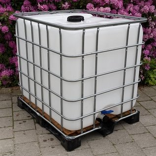 IBC Regenwassertank 1000 Liter auf Holz-Vollkunststoff-Palette Schütz IBC #2HVP-sauber-REGEN-USER