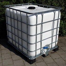 Wasserbehälter WEISS 1000l auf Metall/VP-Palette
