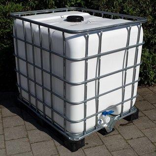 Regenwasserbehälter WEISS 1000 Liter auf Metall/Vollkunststoff-Palette mit Sichtschutz #5MVP-sauber-REGEN-USER