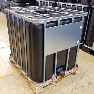 Werit IBC IBC Tank 1000 Liter NEU SCHWARZ für Trinkwasser mit SCHUTZ GEGEN ALGEN auf Holzpalette #64H-ECOW16-NEU-REGEN-USER