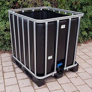 Werit IBC IBC Wasserbehälter SCHWARZ offen NEU 1000 Liter (lebensmittelecht) auf Kunststoff-Palette #65VP-O-TOP3W20-NEU-REGEN-USER