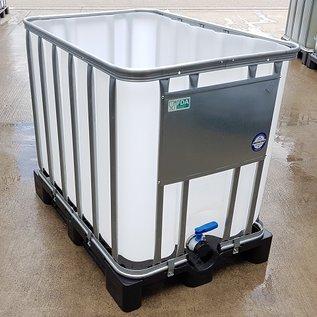 HESS DESIGN IBC Wasserbehälter offen NEU 600 Liter plus 120 Liter für Trinkwasser geeignet auf Kunststoff-Palette #97VP-O-W-NEU-REGEN-USER