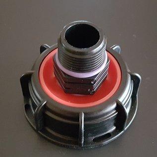 IBC S60 x 6 2-Zoll Grobgewinde Auslauf mit Überwurfmutter auf 3/4-Zoll Anschluss mit Aussengewinde #POS1300-REGEN-USER