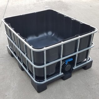 Greif IBC Wassersammler 500 Liter schwarz offen auf Kunststoff-Palette #64OVP5-REGEN-USER
