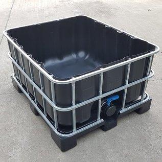 Wassersammler 500 Liter schwarz offen auf Kunststoff-Palette #64OVP5-REGEN-USER