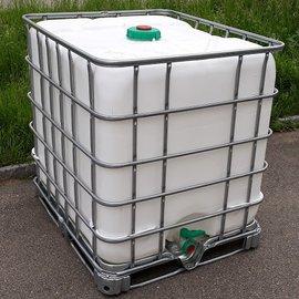 Schütz IBC Dachwassersammler WEISS 1000l exFood auf Stahl-Palette