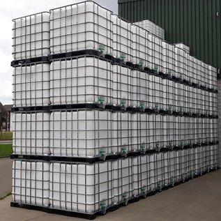 Schütz IBC Regenwasserbehälter WEISS 1000 Liter exFood auf Metall-Kunststoff-Palette mit Sichtschutz #5MVP-exFood-REGEN-USER