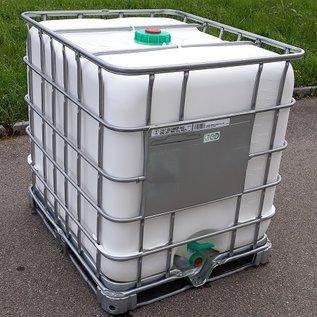 Schütz IBC IBC Dachwassersammler WEISS 1000 Liter exFood auf Stahlpalette mit Sichtschutz #5M-exFood-REGEN-USER