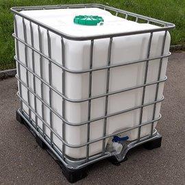 Wassertank WEISS 1000l gr. Deckel exFood auf Metall-VP-Palette