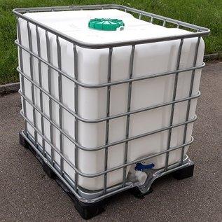 Regenwassertank WEISS 1000 Liter mit grossem Deckel exFood auf Metall-Kunststoff-Palette #5GMVP-exFood-REGEN-USER
